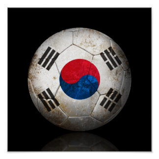 Worn South Korean Flag Football Soccer Ball Poster