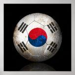 Worn South Korean Flag Football Soccer Ball Print