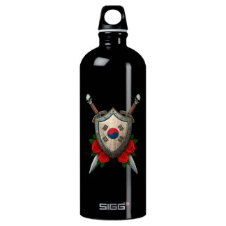 Worn South Korean Flag Shield and Swords with Rose Aluminum Water Bottle