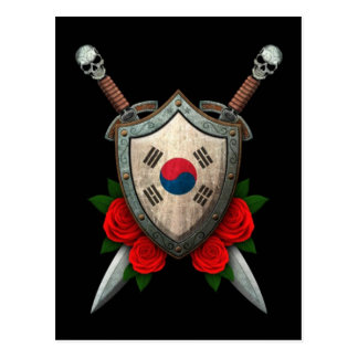Worn South Korean Flag Shield and Swords with Rose Postcard