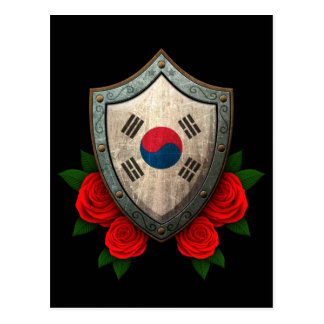 Worn South Korean Flag Shield with Red Roses Postcard