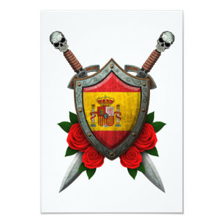 Worn Spanish Flag Shield and Swords with Roses Personalized Announcements
