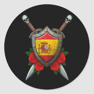 Worn Spanish Flag Shield and Swords with Roses Round Sticker