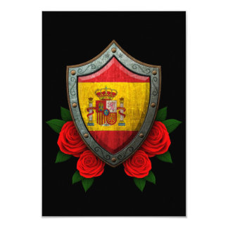 Worn Spanish Flag Shield with Red Roses Custom Invitations