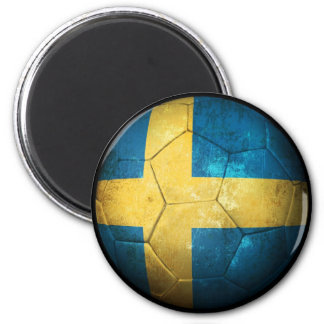 Worn Swedish Flag Football Soccer Ball 2 Inch Round Magnet