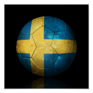 Worn Swedish Flag Football Soccer Ball Poster