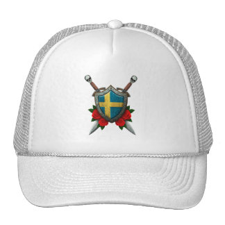 Worn Swedish Flag Shield and Swords with Roses Trucker Hat