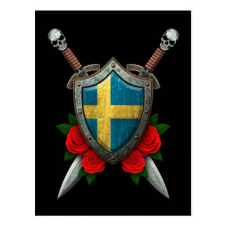Worn Swedish Flag Shield and Swords with Roses Postcard