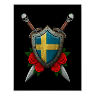 Worn Swedish Flag Shield and Swords with Roses Posters