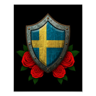 Worn Swedish Flag Shield with Red Roses Poster