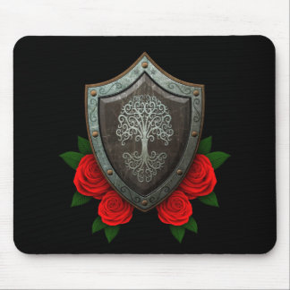 Worn Swirling Tree Shield with Red Roses Mouse Pad