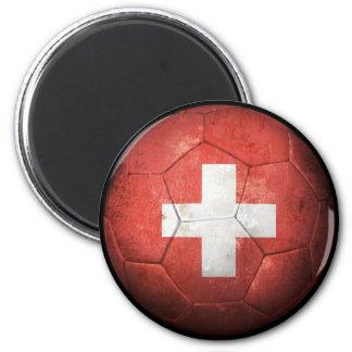 Worn Swiss Flag Football Soccer Ball Refrigerator Magnets