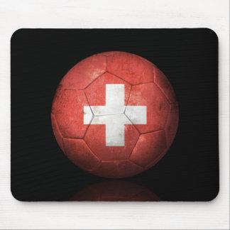 Worn Swiss Flag Football Soccer Ball Mouse Pad