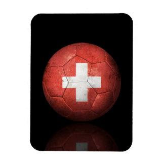 Worn Swiss Flag Football Soccer Ball Rectangular Magnet