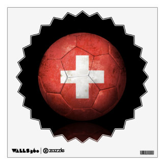 Worn Swiss Flag Football Soccer Ball Wall Decal