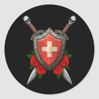 Worn Swiss Flag Shield and Swords with Roses Classic Round Sticker