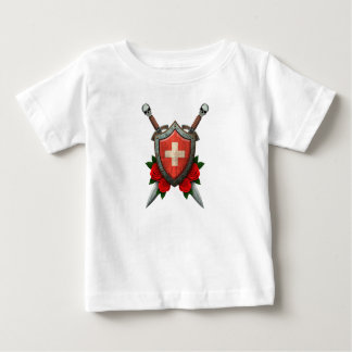 Worn Swiss Flag Shield and Swords with Roses Tees