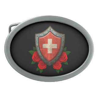 Worn Swiss Flag Shield with Red Roses Oval Belt Buckles