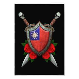 Worn Taiwanese Flag Shield and Swords with Roses 3.5x5 Paper Invitation Card