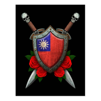 Worn Taiwanese Flag Shield and Swords with Roses Postcard