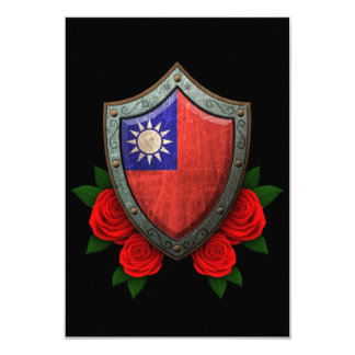 Worn Taiwanese Flag Shield with Red Roses 3.5x5 Paper Invitation Card