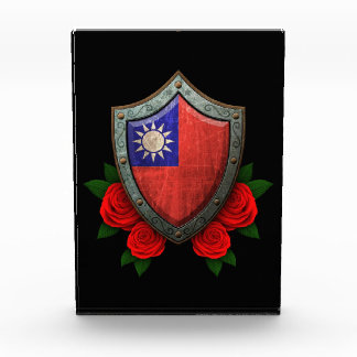 Worn Taiwanese Flag Shield with Red Roses Acrylic Award
