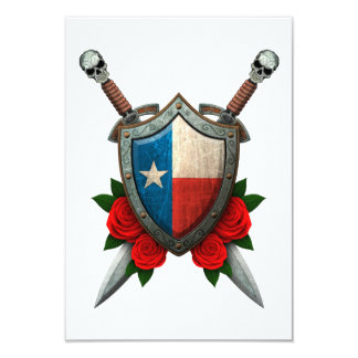 Worn Texas Flag Shield and Swords with Roses Card