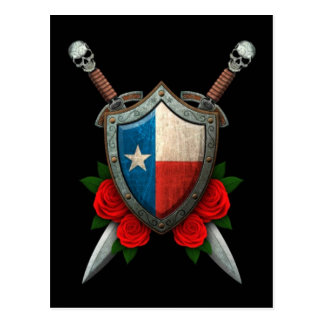 Worn Texas Flag Shield and Swords with Roses Postcard