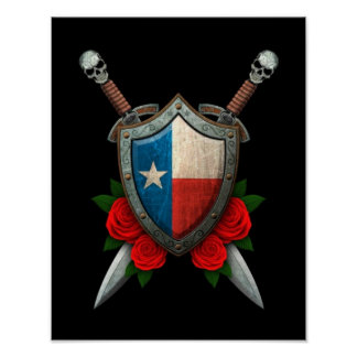 Worn Texas Flag Shield and Swords with Roses Poster