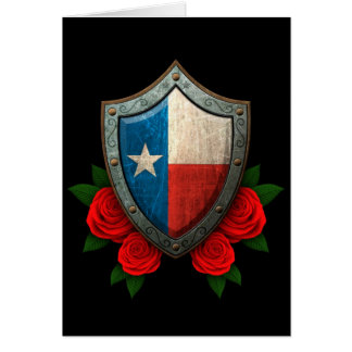 Worn Texas Flag Shield with Red Roses Card
