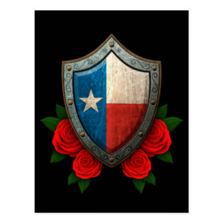 Worn Texas Flag Shield with Red Roses Postcard