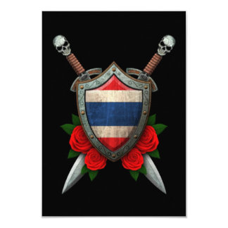"""Worn Thai Flag Shield and Swords with Roses 3.5"""" X 5"""" Invitation Card"""