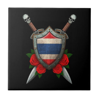 Worn Thai Flag Shield and Swords with Roses Tile