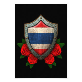 Worn Thai Flag Shield with Red Roses Announcements