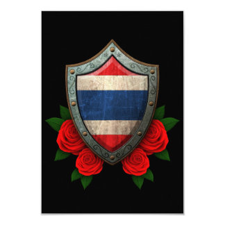 """Worn Thai Flag Shield with Red Roses 3.5"""" X 5"""" Invitation Card"""