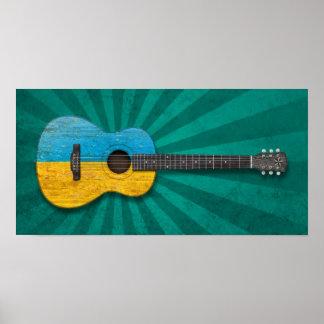 Worn Ukrainian Flag Acoustic Guitar teal Poster
