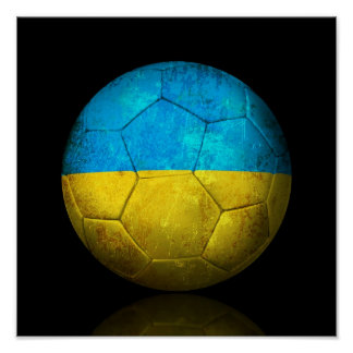 Worn Ukrainian Flag Football Soccer Ball Poster
