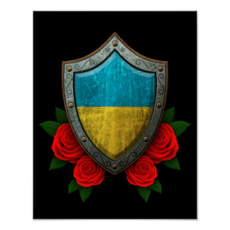 Worn Ukrainian Flag Shield with Red Roses Poster
