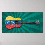 Worn Venezuelan Flag Acoustic Guitar, teal Poster