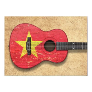 Worn Vietnamese Flag Acoustic Guitar Personalized Invite
