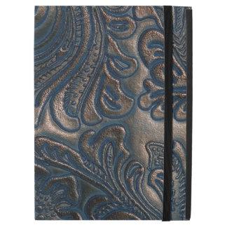 Worn Vintage Embossed Brown Leather iPad Pro Case