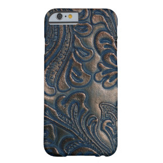 Worn Vintage Embossed Dark Brown Leather Barely There iPhone 6 Case