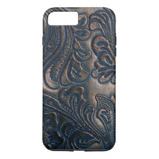 Worn Vintage Embossed Dark Brown Leather iPhone 7 Plus Case