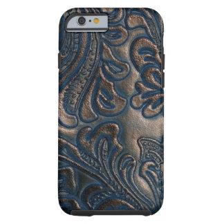 Worn Vintage Embossed Dark Brown Leather Tough iPhone 6 Case