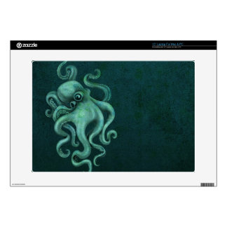 "Worn Vintage Octopus Illustration - Blue 15"" Laptop Skins"