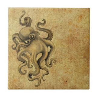 Worn Vintage Octopus Illustration Ceramic Tile