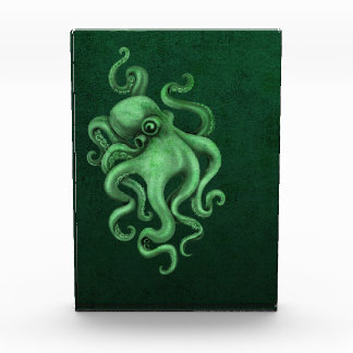 Worn Vintage Octopus Illustration - Green Acrylic Award