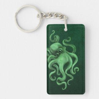 Worn Vintage Octopus Illustration - Green Keychain