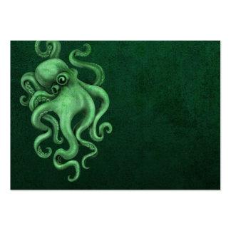 Worn Vintage Octopus Illustration - Green Large Business Card