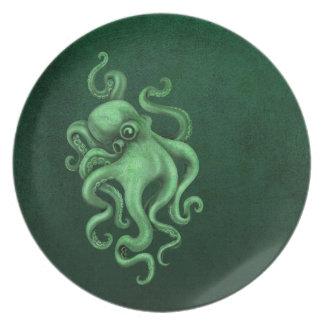 Worn Vintage Octopus Illustration - Green Melamine Plate